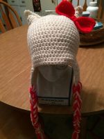 Crocheted Hello Kitty Hat by CrackFaerie