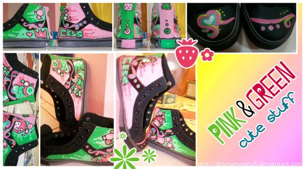 pink and green cutestuff shoes by dramaturge28