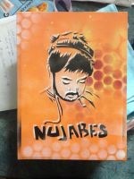 Nujabes Tribute stencil and pray paint on canvas by equinox101