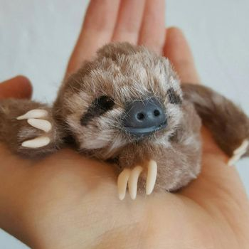 Three Toed Sloth Art Doll by Kay-Sarah