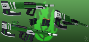 Green Rage (RWBY OC weapon) by JackBryanReynard
