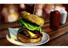 Digital Painting : Burger by lihualicious