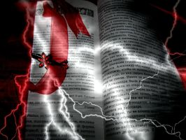 Open Book With Lightning by RossLana