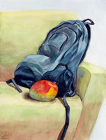 Mango and Backpack by anqila