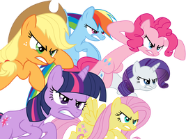 Mane 6 - angry by JoeMasterPencil