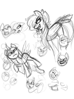 Doodle Dump: Random Pony Expressions by TheRebelPhoenix