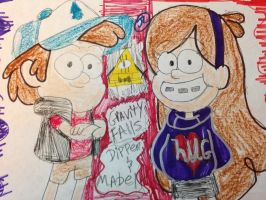 Gravity falls Dipper and Mabel  by Bluedragoncartoon