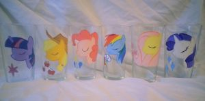 my little pony maine 6 glass paintings by LightningChaser