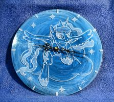 Engrave glass clock Princess Luna by Cerebralis