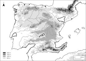 Physical map of the Iberian peninsula by Clawfiren