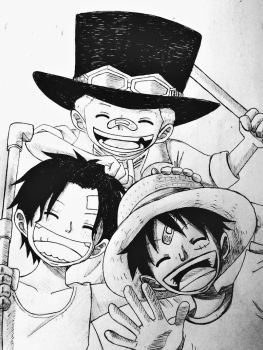 Ace, Sabo and Luffy by xNickyChan