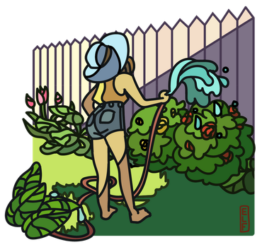 Watering Out Back by ElfSama