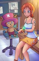 Nami and Chopper Inspecting the Log Pose by marcotte