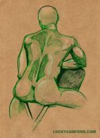 Erotic Figure Drawing - Michael #2 by LuckySanford