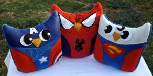 Owl Plushies Inspired by Superheroes by sylvialovespink