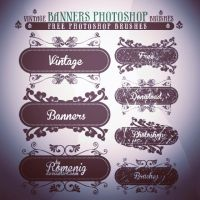 FLORAL BANNERS FREE PHOTOSHOP BRUSHES by Romenig