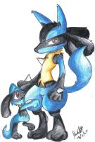 Lucario and Riolu by mmishee