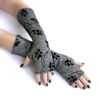 Winter Flowers -  Black and White Fingerless Glove by WearMeUp