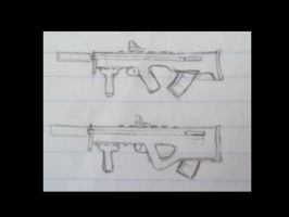 adaptable machine carbine sketch WIP by pantophage