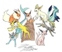 Evee evolutionz by Maszeattack