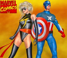 Ms Marvel and Captain America by Roys-Art