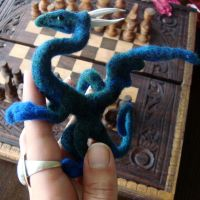 Bluegreen Felted Dragon by Projectsubvert