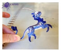 COMM: Blue Mini Unicorn - Sculpture by Escaron