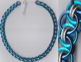 Regal Blue Helm Chain Necklace by Diglette