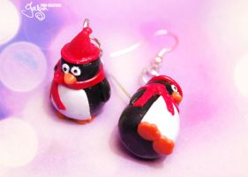 Winter Penguins - Earrings by Jeyam-PClay