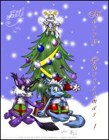 Weasel and Kitti -  Xmas 2003 by violetomega