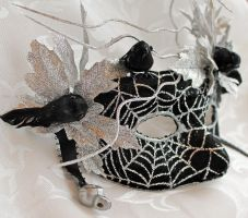 Black and Silver Web Masquerade Mask by DaraGallery