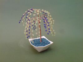 Bonsai Wire Tree Sculpture Beaded Willow by sinisaart
