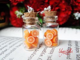 Earrings - Bottles with oranges by Benia1991