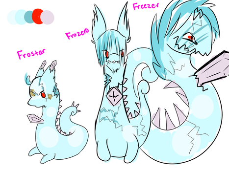 Frostar, Frozero, and Freezer Sketch by lilybunny25