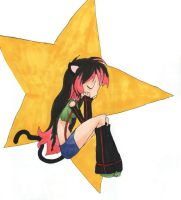 Kitty on a Star by EmiMagick