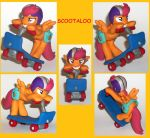Scootaloo riding her scooter custom sculpture by MadPonyScientist