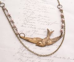 Bird in flight necklace by Archaic76
