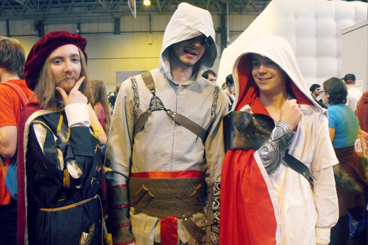 Shady Altair, grinning Ezio and a posing Leo by Iszy-chan