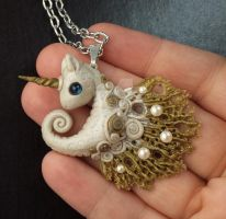 Unicorn Seahorse polymer clay pendent by carmendee