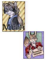 Raccoon and Fennec fox badge by lady-cybercat