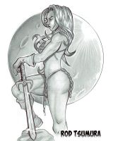 Red Sonja Sketch by RODYTSUMURA