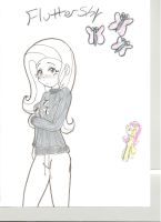 Fluttershy humanized by avirextin