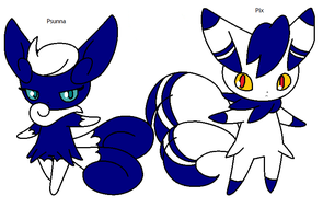 The Meowstic-Twins - Psunna and Pix by MephistaTheDark