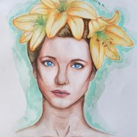 Girl with flowers by zbrozhek