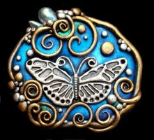 Butterfly Pendant or pin by MandarinMoon