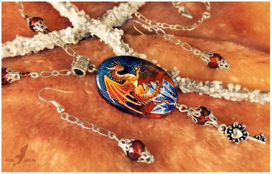 Stone painting- tiger dragon- necklace set by AlviaAlcedo