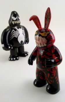 Custom Carnage Muggs Bunny and Venom King Ken by chrisosaur