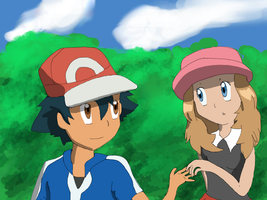 Ash And Serena by Mendaleave