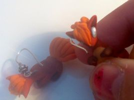 Vulpix earrings by HandmadeDragons