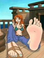Nami's Foot Tease! (Colored) by Got-You-Colored